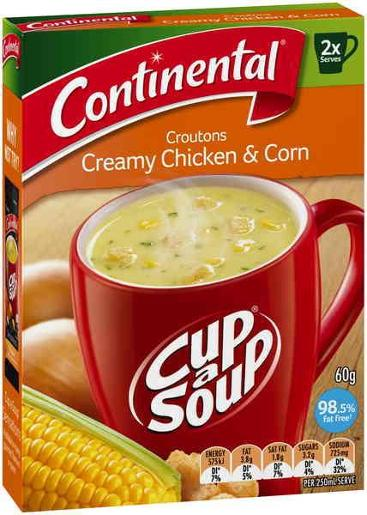 CHICKEN & CORN CUP-A-SOUP 2 SERVES 60GM