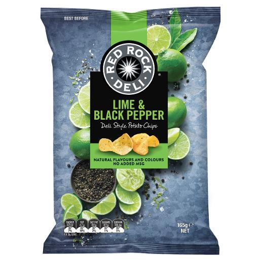 LIME AND PEPPER POTATO CHIPS 165GM